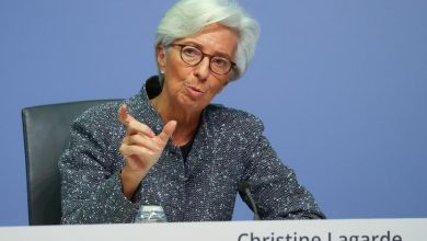 ECB President Christine Lagarde at a press conference in Frankfurt am Main