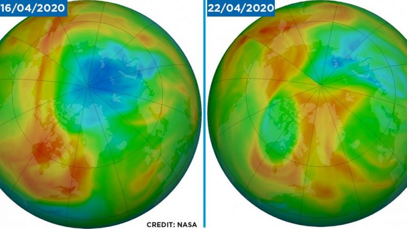 A huge ozone hole suddenly disappears over the Arctic