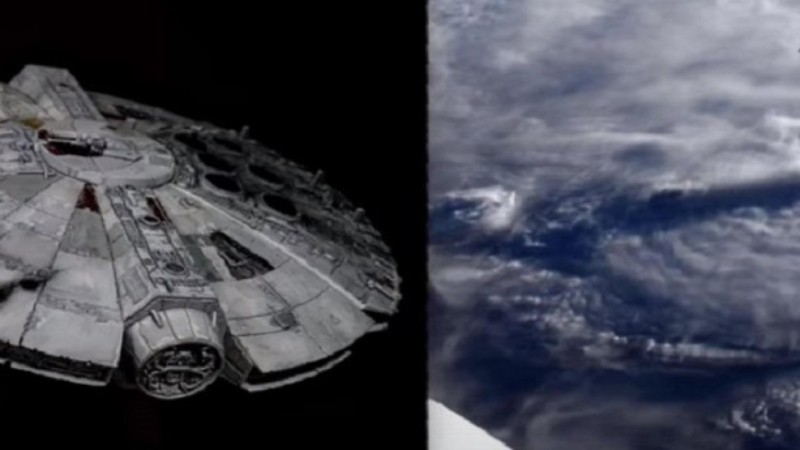 ISS cameras filmed an alien ship like the Millennium Falcon from Star Wars