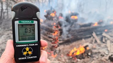 There is a jump in radiation near Chernobyl