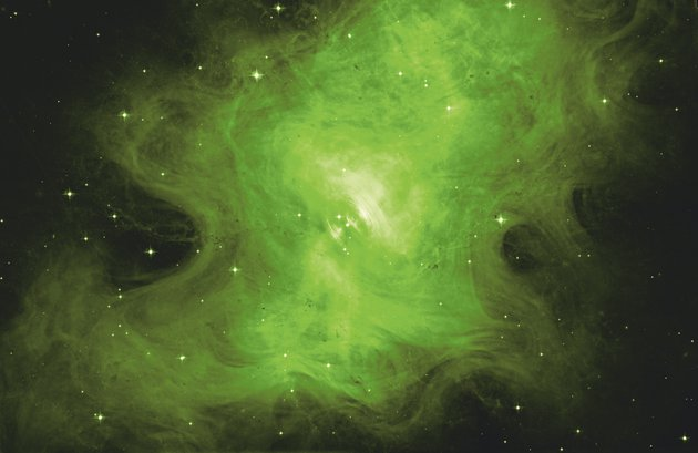 A crab nebula surrounds a superdense neutron star