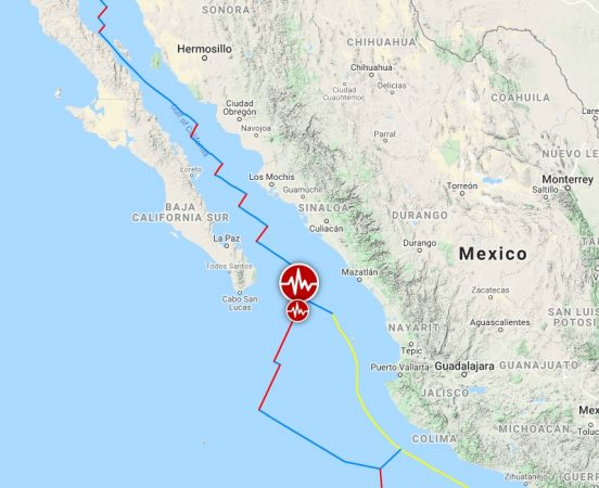 A strong M earthquake occurs off the coast of Southern California