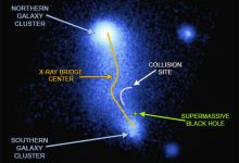 Abell bending the jumper between two clusters of galaxies