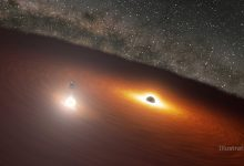 Astronomers have predicted a flash from the interaction of two black holes with an accuracy of four hours