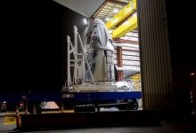 Dragon SpaceX capsule arrives at launch pad for historic mission