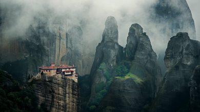 Sacred peaks Greek monasteries on steep cliffs