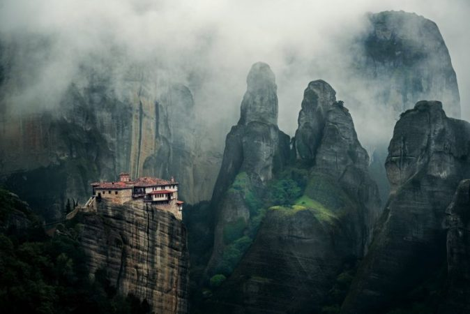 Sacred peaks Greek monasteries on steep cliffs