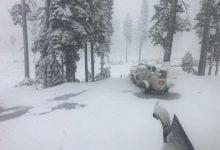 Snow fell in California