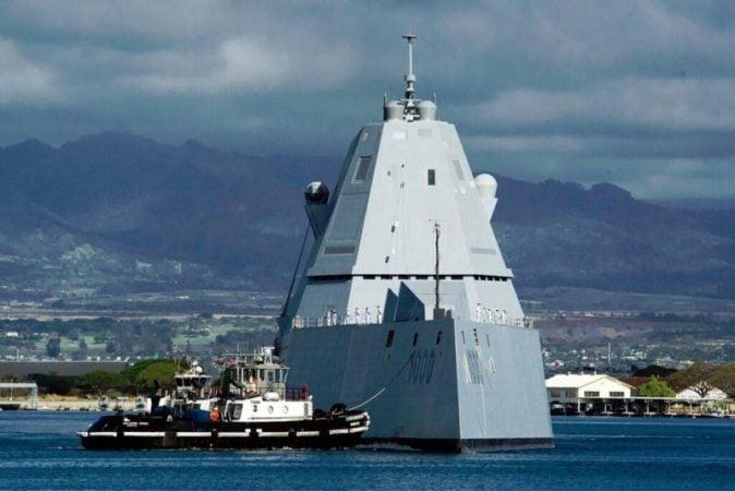The destroyer Zumwalt first tested its guns Mark MOD