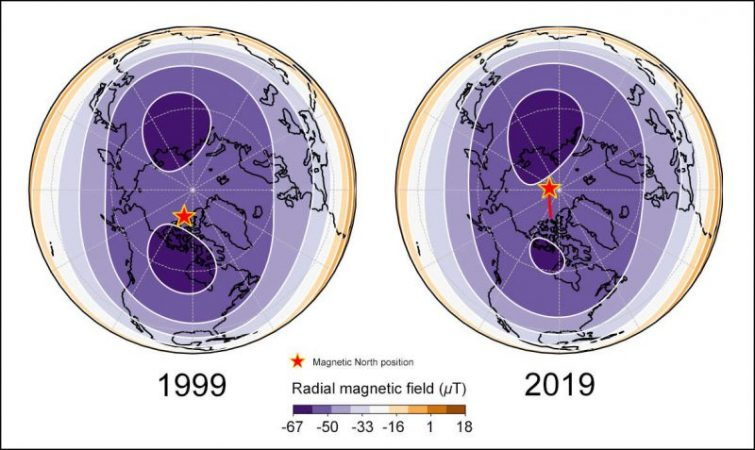 The magnetic pole of the earth rushed towards Russia
