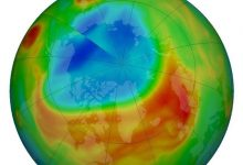 The unusually large ozone hole over the Arctic has almost disappeared