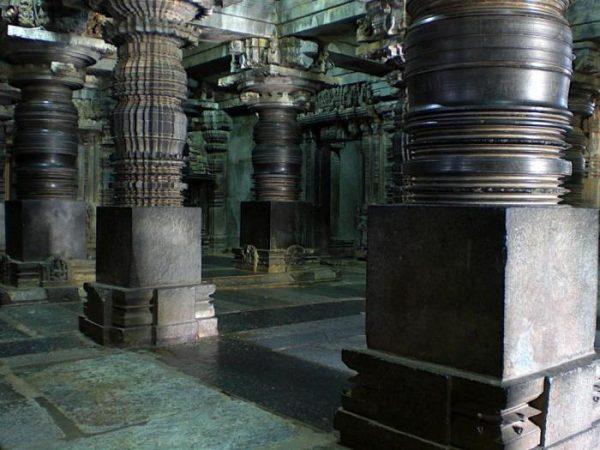 Carved columns of ancient temples in the city of Shravanabelagola India