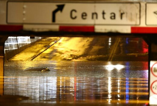 Heavy rain triggers flooding in Zagreb Croatia