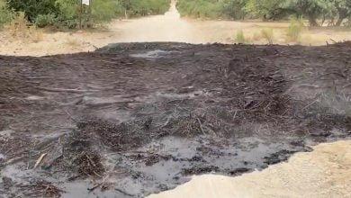 Steaming river of black soot walked through Arizona