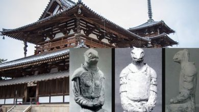 The mystery of the reptilian statues in the Japanese temple of Horyu ji