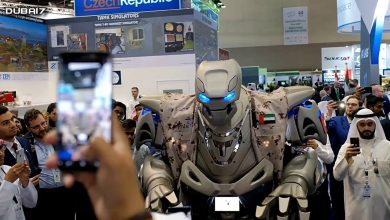Prince of Bahrain in Dubai accompanied by a huge robotic bodyguard
