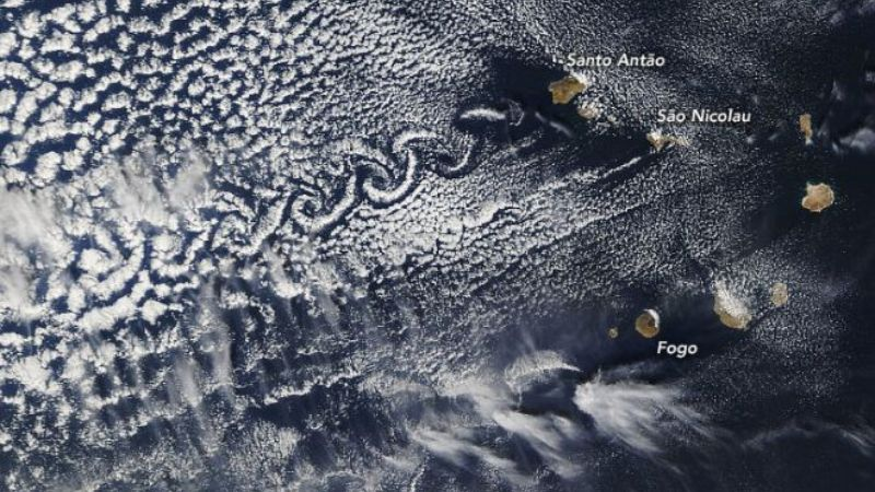 An unusual cloud pattern formed over islands in the Atlantic