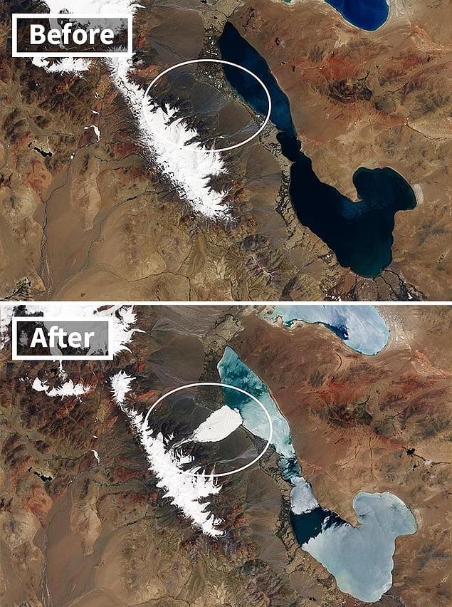 Ice avalanche in the Tibetan Aru ridge
