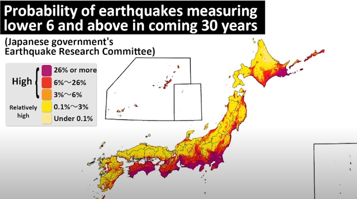 Japanese scientists have published a map with a forecast of areas of strong earthquakes