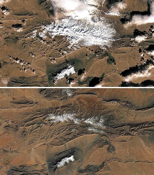 Rare snow falls on the outskirts of the Sahara Desert
