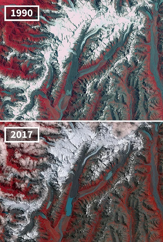 Reduction of glaciers in New Zealand