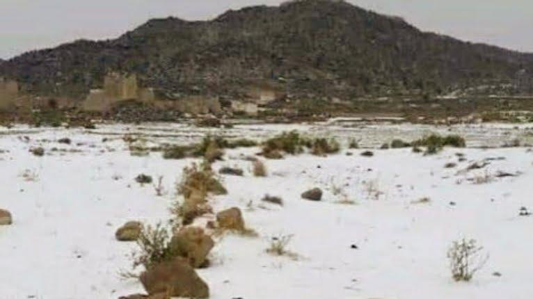 Snowfall hits Saada Yemen