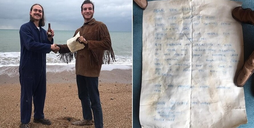 A letter thrown into the sea 60 years ago was pulled out of a bottle in Britain