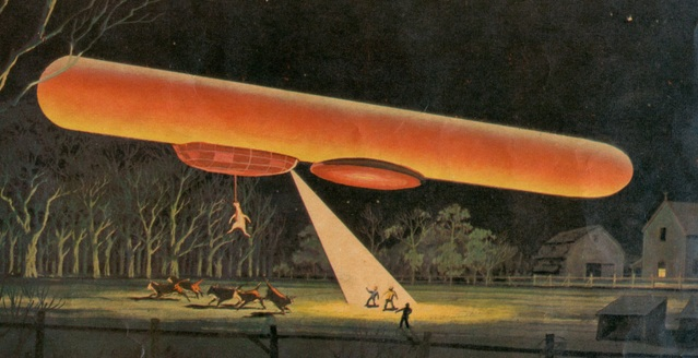 Report on UFOs and aliens abducting a cow in a Kansas newspaper in 1897