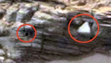 A black square and a white triangle were found in pictures from Mars