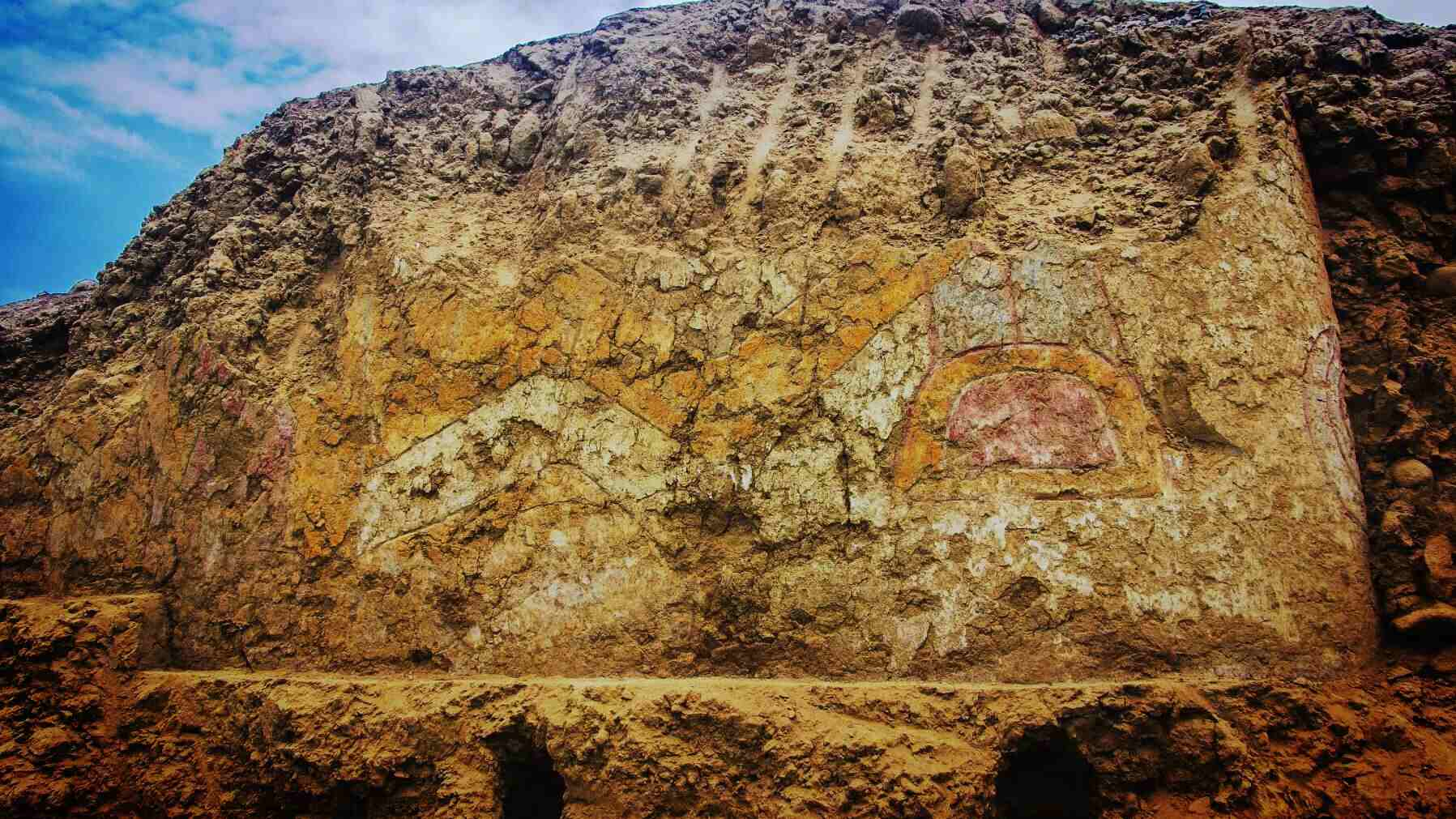 A fresco depicting an ancient deity discovered in Peru