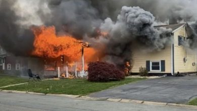 American woman sat on the lawn and watched her house burn