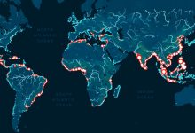 Shown are the regions that most pollute the oceans