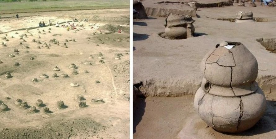 Charred remains of a pregnant woman found in a 4000 year old urn