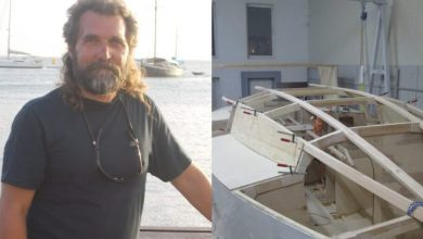 A sailor is about to take a trip around the world on a homemade boat