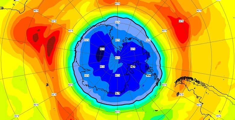 Over the South Pole in just a week the ozone hole has grown larger than Antarctica